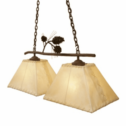 Rustic Lodge Anacosti Oblong Rawhide Ponderosa Pine Double Pendant Light