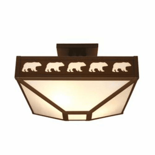 Rustic Lodge Band of Bears Four Post Drop Ceiling Light
