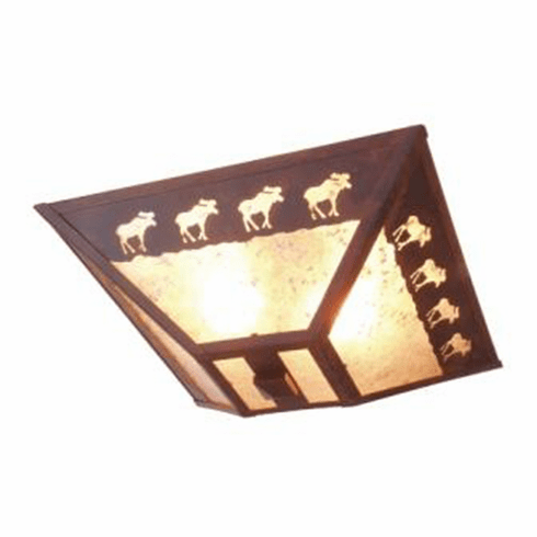 Rustic Lodge Band of Moose Drop Ceiling Light