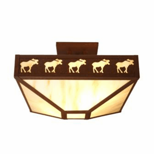 Rustic Lodge Band of Moose Four Post Drop Ceiling Light
