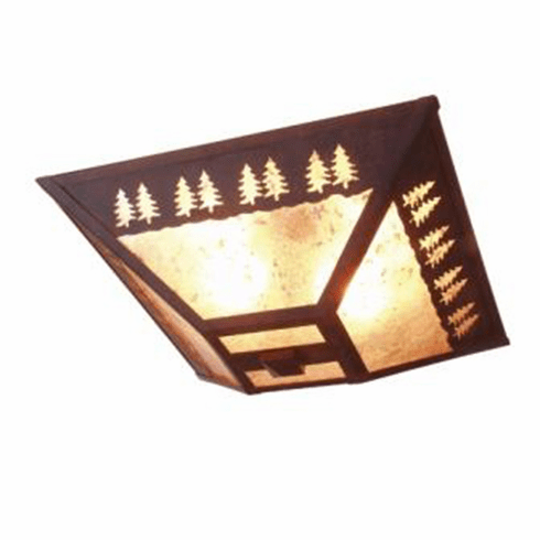 Rustic Lodge Band of Trees Drop Ceiling Light