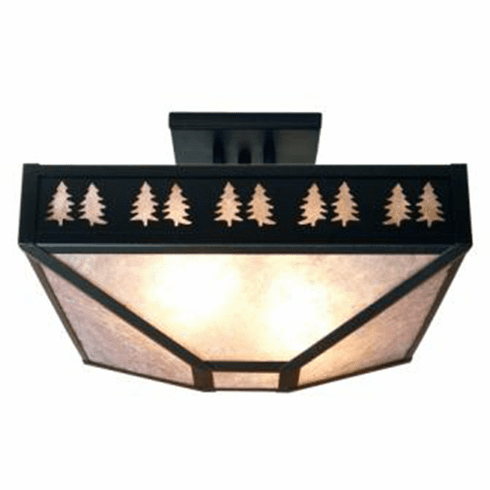 Rustic Lodge Band of Trees Four Post Drop Ceiling Light