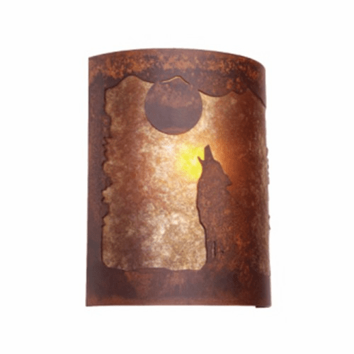 Rustic Lodge - Bark At The Moon - Timber Ridge Wall Sconce