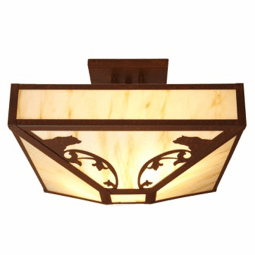 Rustic Lodge Bavarian Bear Four Post Drop Ceiling Light