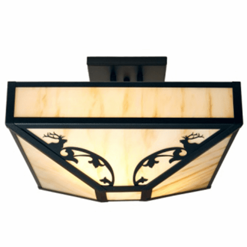 Rustic Lodge Bavarian Elk Four Post Drop Ceiling Light