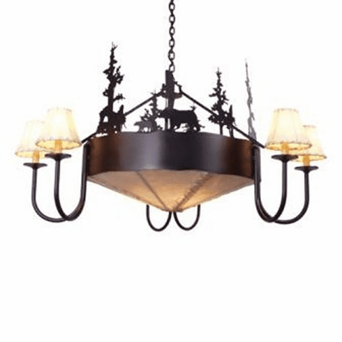 Rustic Lodge Bear Rawhide Chandelier