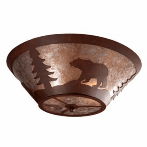 Rustic Lodge Bear Round Drop Ceiling Light