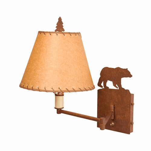 Rustic Lodge Bear Single Swing Arm Wall Light