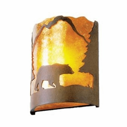 Rustic Lodge Bear Timber Ridge Wall Sconce