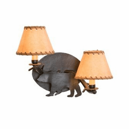 Rustic Lodge Bear Timber Wall Sconce