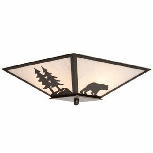 Rustic Lodge Bear with Trees Drop Ceiling Light