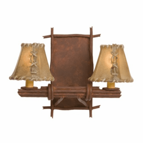 Rustic Lodge Bundle of Sticks Double Wall Sconce