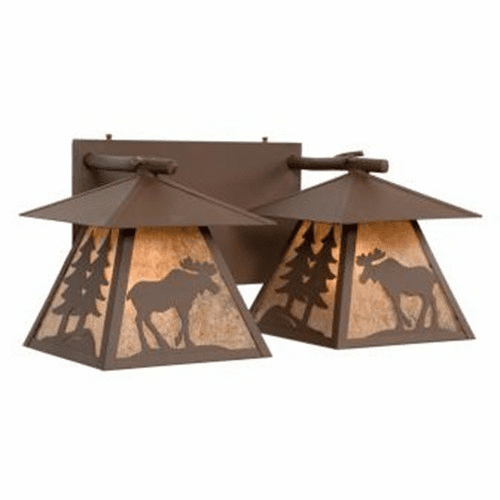 Rustic Lodge Cascade Double Moose Vanity Light
