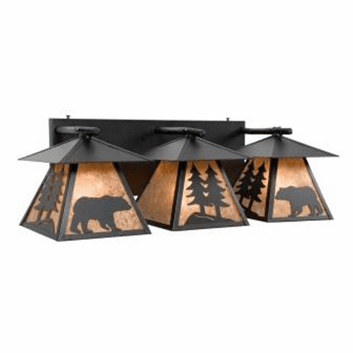 Rustic Lodge Cascade Triple Bear Vanity Light