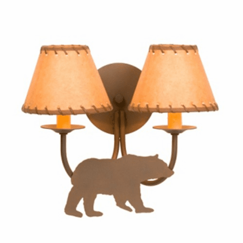 Rustic Lodge Double Bear Wall Sconce