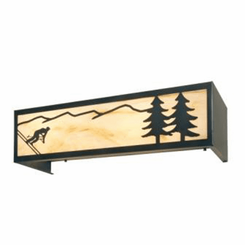 Rustic Lodge Downhill Skier 4 Light Vanity Light
