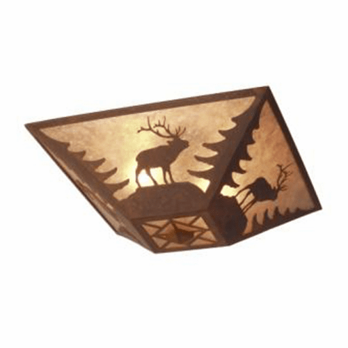 Rustic Lodge Elk Drop Ceiling Light