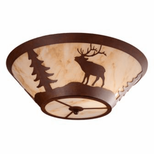 Rustic Lodge Elk Round Drop Ceiling Light