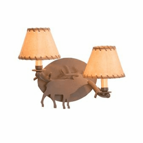 Rustic Lodge Elk Timber Wall Sconce
