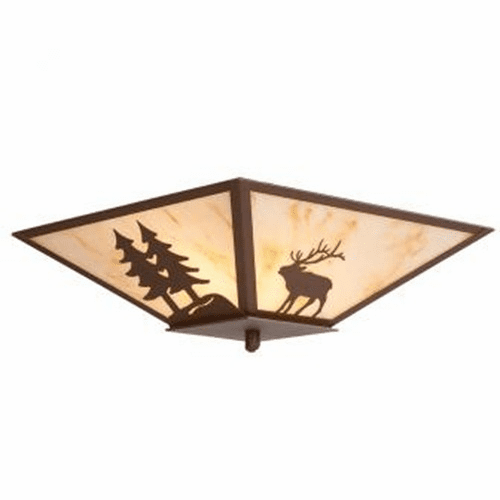 Rustic Lodge Elk with Trees Drop Ceiling Light