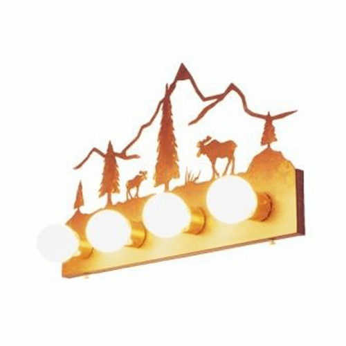 Rustic Lodge Flat Moose Mountain 4 Light Vanity Light