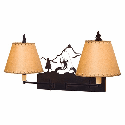 Rustic Lodge Fly Fisherman Double Swing Arm Wall Light