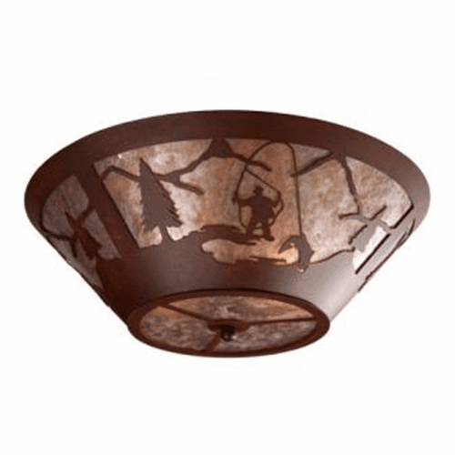 Rustic Lodge Fly Fisherman Round Drop Ceiling Light