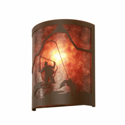 Rustic Lodge Fly Fisherman Timber Ridge Wall Sconce