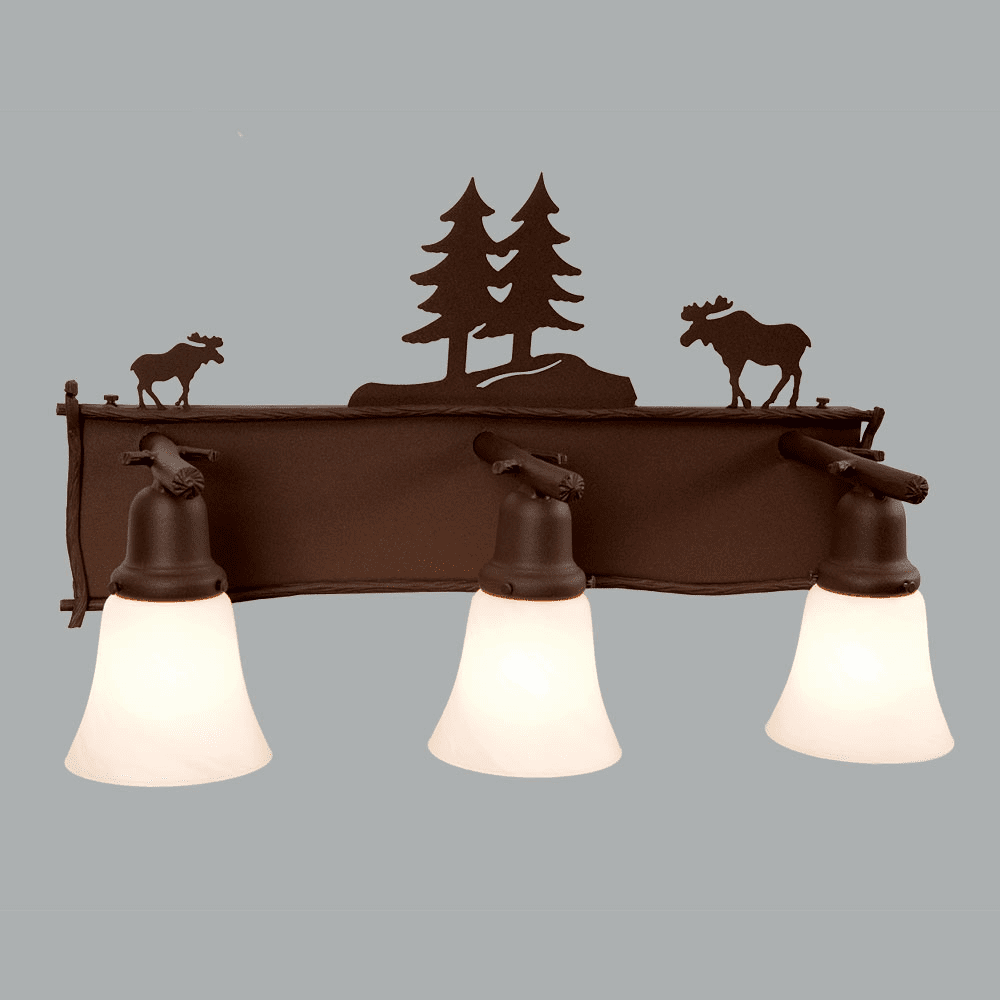 Rustic Lodge Glacier Moose 3 Light Vanity Light