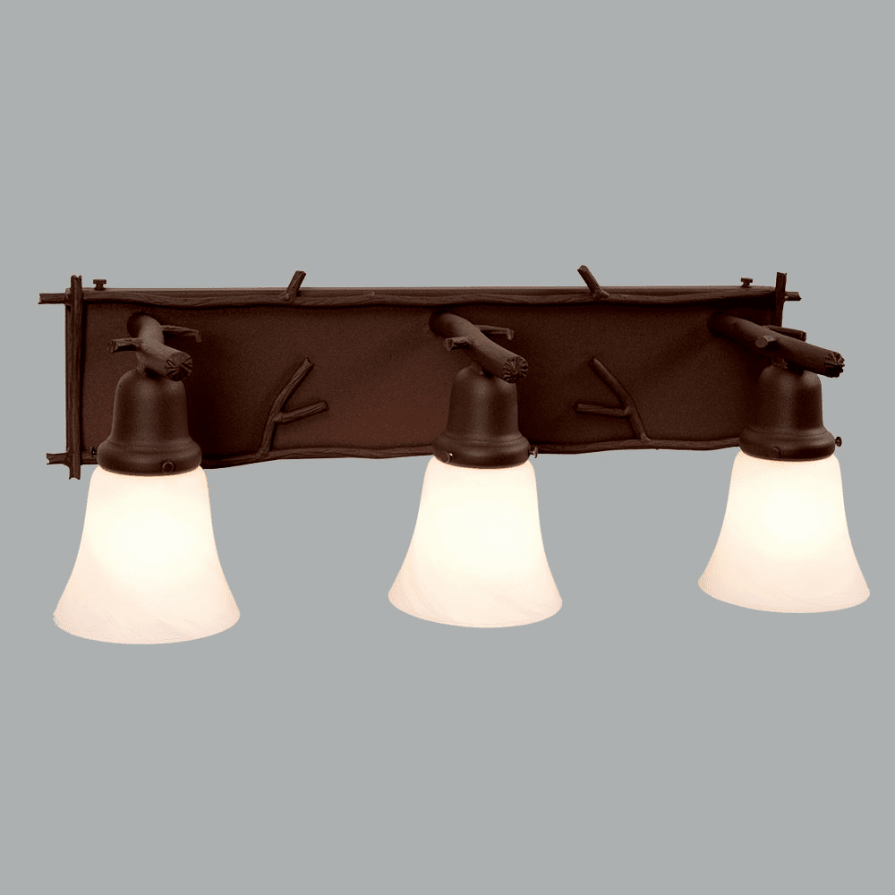 Rustic Lodge Glacier Sticks 3 Light Vanity Light