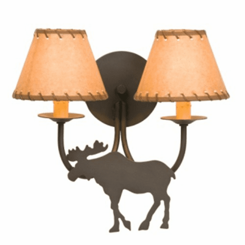 Rustic Lodge Moose Double Wall Sconce