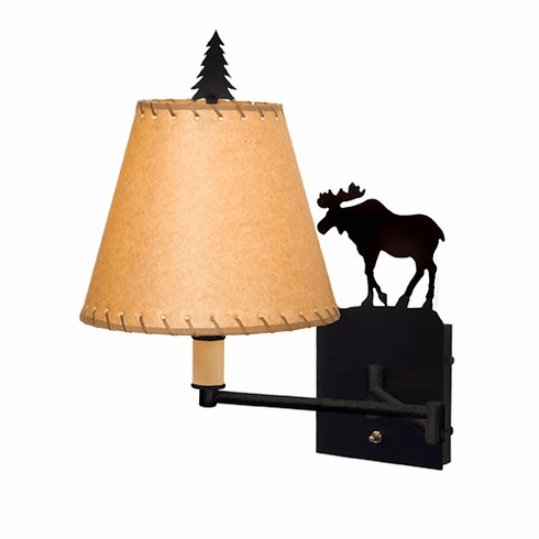 Rustic Lodge Moose Single Swing Arm Wall Light