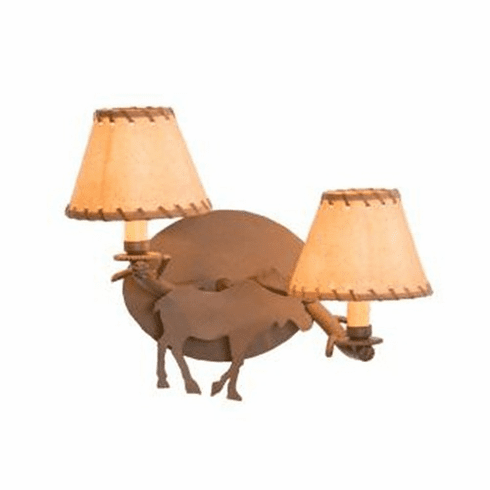 Rustic Lodge Moose Timber Wall Sconce
