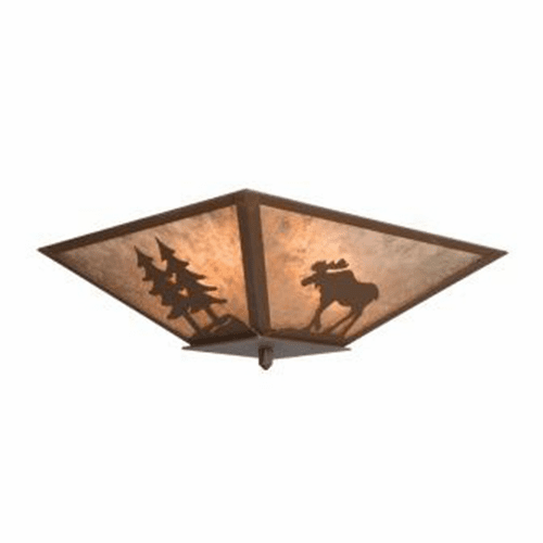 Rustic Lodge Moose with Trees Drop Ceiling Light