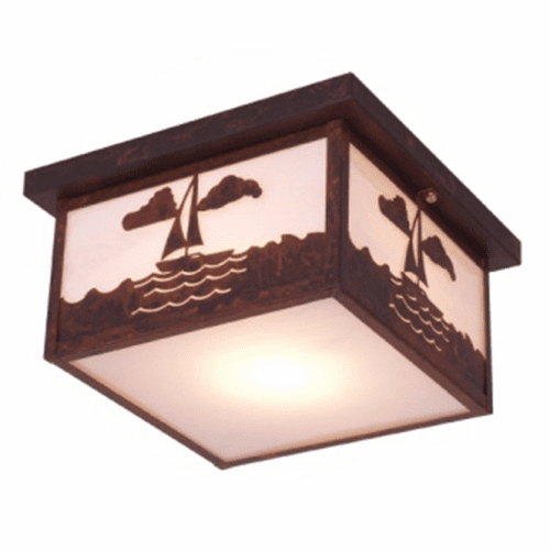 Rustic Lodge Nantucket Squaroka Ceiling Light