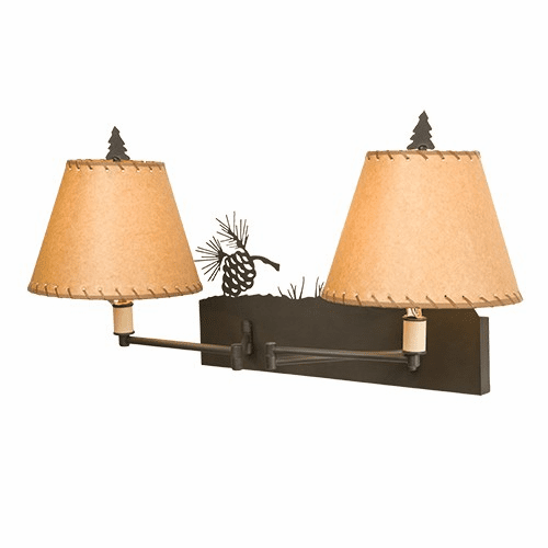 Rustic Lodge Pinecone Double Swing Arm Wall Light
