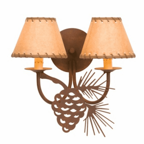 Rustic Lodge Pinecone Double Wall Sconce