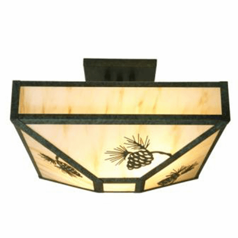 Rustic Lodge Pinecone Four Post Drop Ceiling Light