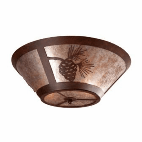 Rustic Lodge Pinecone Round Drop Ceiling Light