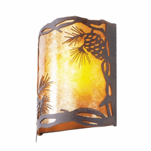Rustic Lodge Pinecone Timber Ridge Wall Sconce
