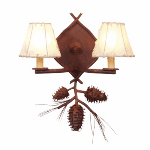 Rustic Lodge Ponderosa Pine Double Wall Sconce