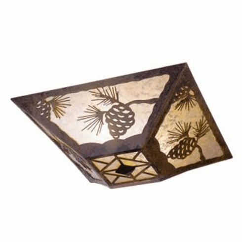 Rustic Lodge Ponderosa Pine Drop Ceiling Light