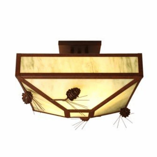 Rustic Lodge Ponderosa Pine Four Post Drop Ceiling Light
