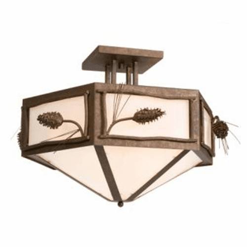 Rustic Lodge Ponderosa Pine Hexagon Drop Ceiling Light