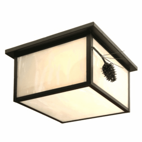 Rustic Lodge Ponderosa Pine Squaroka Ceiling Light