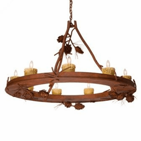 Rustic Lodge Ponderosa Pine Steel Creek 9 Candle Lights Chandelier
