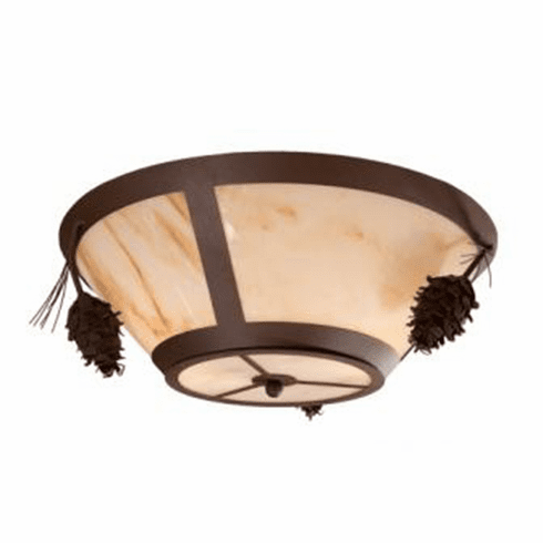 Rustic Lodge Ponderosa Round Pine Drop Ceiling Light
