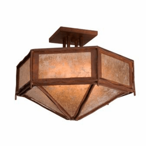 Rustic Lodge Sticks Hexagon Drop Ceiling Light