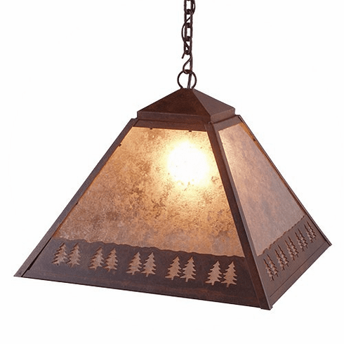 Rustic Lodge Swag Band of Trees Pendant Light