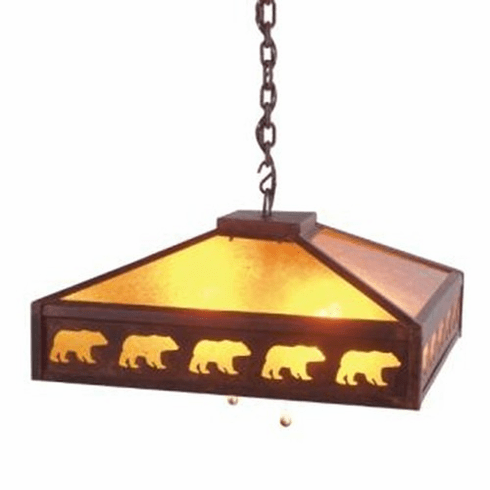 Rustic Lodge Swag Meadow Band of Bears Pendant Light